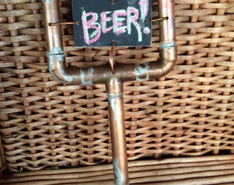 Handmade copper beer tap handle