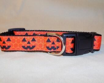Jack O Lantern Pumpkin Halloween Fall Dog Collar