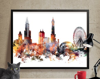 Chicago art, Chicago wall art, City Prints, City Art, Chicago Poster, Wall Art, Home Decor, Chicago Skyline, Chicago print (314)
