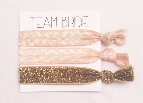 Bridesmaid hair tie card//hair tie favor//elastic hair ties//party favor//neutral & gold