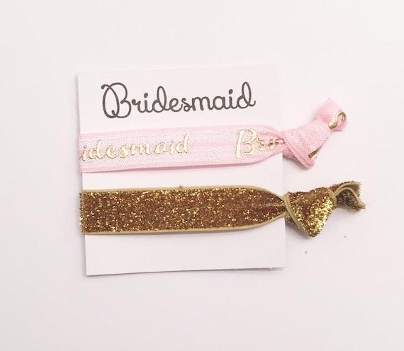 Bridesmaid hair tie favors//light pink bridesmaid/maid of honor//party favor//hair tie card//bridesmaid gift