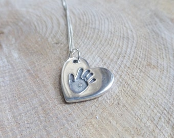 Singular Handprint Necklace, Handprint Jewellery, handprint jewelry