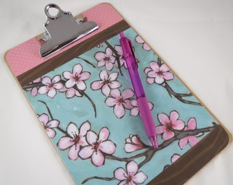 Mini Clipboard, 6x9 Note Sized Clipboard, Pink Cherry Blossoms, Cute Desk Organization, Teacher Gift, Pink School Supplies