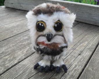 Felted fluffy little owl