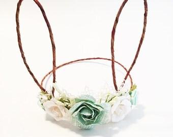 Woodland Bunny Flower Crown, Photo Prop, Baby Tieback Headband, Baby Flower Crown, Easter Flower Crown, Girls Flower Crown, Forest Creature