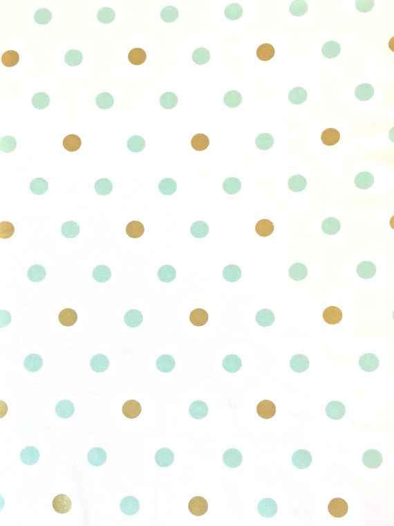 Mint And Gold Dots Fabric Mint And Metallic Gold Polka On