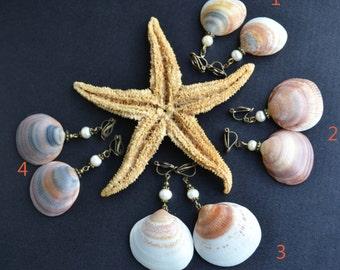 Dangle ocean shells pendant beach nautical sea summer  pearl clip on earrings