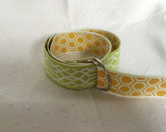 Green and white trellis with yellow honeycomb belt.
