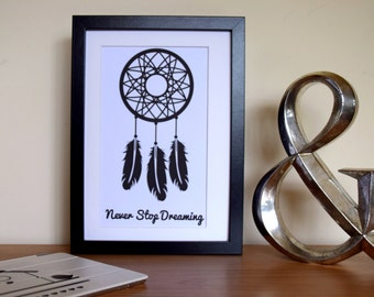"""Dreamcatcher Print. """"Never Stop Dreaming"""". Typography Poster. Wall Decor"""