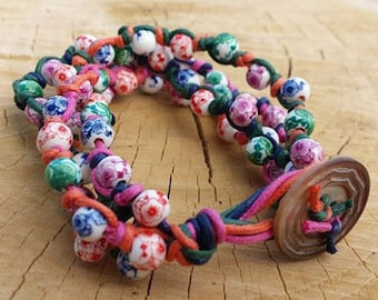 Gypsy Rose Bracelet, ceramic beads, knotted cotton cord