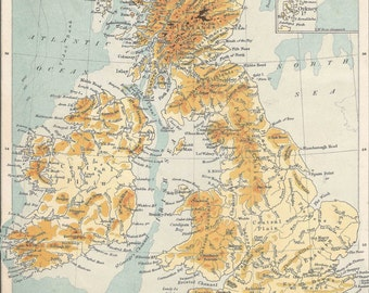 Topographical map British Isles Antique Maps England Wales Scotland Vintage lithograph prints