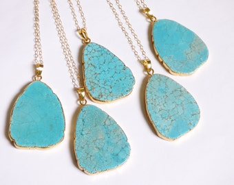 Howlite Turquoise Slice Pendant Necklace, Gold Electroformed Gemstone Necklace, Blue Stone, Gold Dipped Jewelry, Boho Jewelry, Gold Edged