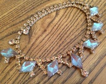 Vintage Saphiret and Topaz Rhinestone Necklace 0568