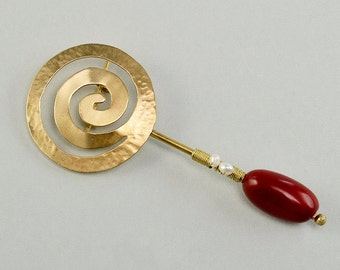 Gold large brooch, spiral jewelry, long beaded pin, fashion jewelry, vegetable ivory, pearl brooch, coil jewelry, red stone pin.