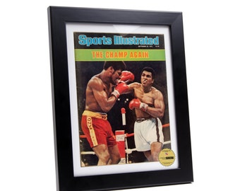 Black Sports Illustrated Frame - Display your Vintage Sports Illustrated Magazine Art Creating Your Perfect Man Cave, Media Wall Collage