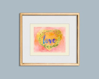 L O V E Printable Watercolor 8x10, Love Wall Art, Instant Download, Printable Home Decor, Valentines Art, Heart Print, Watercolor Printable