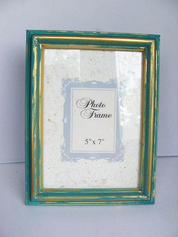 Shabby chic turquoise painted 5 x 7 picture frame for Bungalow style picture frames