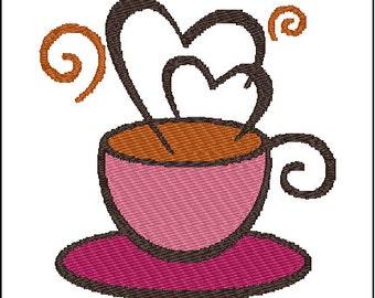Tea Coffee Cup Embroidery Design