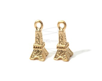 JS12093/5Pcs-Small Eiffel Tower Connector Link Charm-Matte Gold Plated Over Brass The Eiffel Tower Pendent-3D Eiffel Tower Links