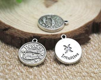 12pcs of Antique silver Pisces charms pendants, Zodiac Charm 20x18mm D1586