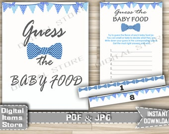 Bow Tie Guess The Baby Food Printable - Baby Shower Guess The Baby Food Game Bow Tie Chevron Blue with Banners - Instant Download - bt1