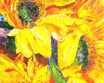 Smiling Sunflowers by Pallet Knife