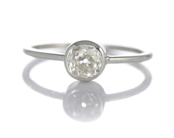Diamond engagement ring | 0.66 antique old mine diamond | platinum | Handmade | stacking ring | reclaimed