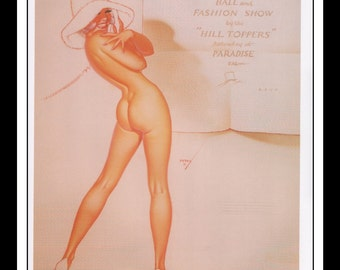 "George Petty Vintage Pinup Illustration Sexy Pinup 1974 Hilltopers Annual Ball and Fashion Show Mature Wall Art Deco Book Print 9"" x 11 3/4"""