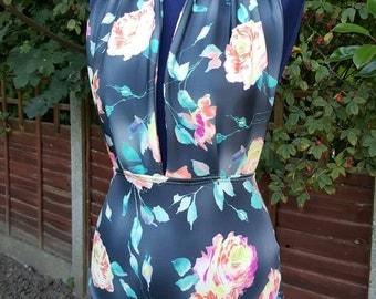 Swimsuit One piece Retro Swimwear high waisted beautiful halter-neck scuba roses floral black 10-12