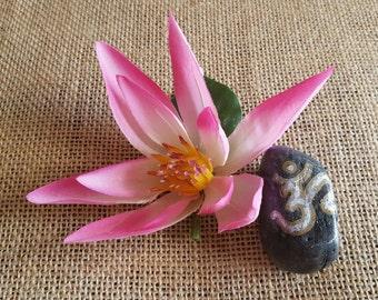 Pink lotus hair clip