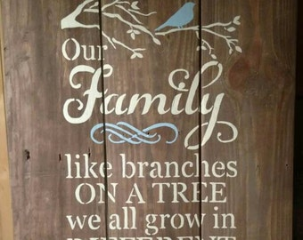 Pallet sign, family, like branches on a tree we may all go in different directions yet our roots remain as one.