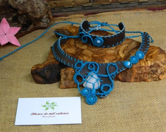 macrame and leather ensemble necklace and bracelet Sea Breeze