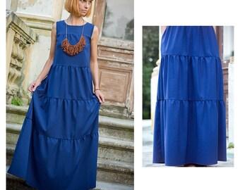 Maxi blue dress, cotton, summer dress, long dress, sleeveless dress