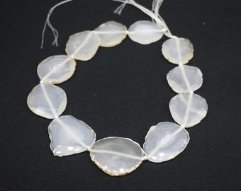 Large White Agate Slice Necklace, Transparent Agate Polished Agate Smooth Face Pendant, Long Agate Slice Necklace