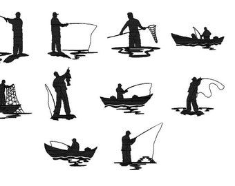 10 Designs, Fisherman Machine Embroidery Design Pack, Instant Download, 4x4 Hoop Size