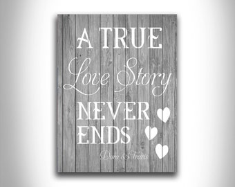 A True Love Story Never Ends unique customizable typography home decor