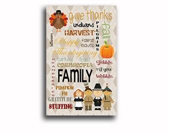 Thanksgiving subway art wordart wall decor gift idea