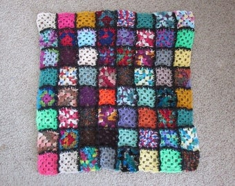 "Multi-colored Granny Square Afghan (32""x32"")"