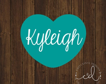 Name Heart Decal - Personalized Name Decal - Custom Name Decal - Any Word Decal - Name Decal - Word Decal - Vinyl Decal - Preppy