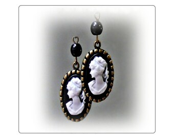Black and White Cameo Victorian Lady bronzed Vintage Style drop earrings, choose your fittings