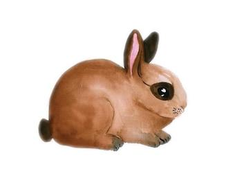 Brown Bunny Watercolour Print