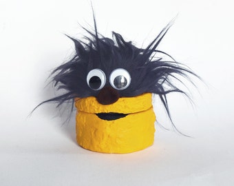 Navy blue and yellow monster trinket box