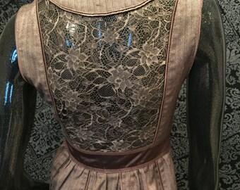 Silk & Lace Brown Steampunk Vest
