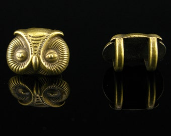 10pcs For 5mm round leather Antique Brass owl bracelet Jewelry Findings & Components  P-026