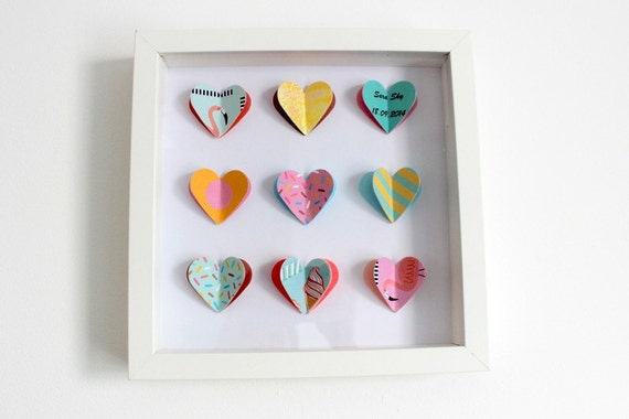 Personalised Wall Art. Personalised 3D Hearts. Personalised gift. Retro gift.  Colorful personalised gift.