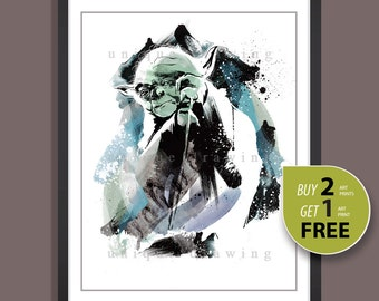 Star Wars movie poster, Yoda poster, Star Wars Yoda print, Star Wars Yoda painting, The force awakens poster, Kids Decor, Nursery Decor,3531