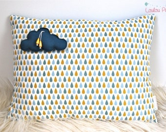 Small cushion drops and Medallion cloud - colour blue and yellow mustard