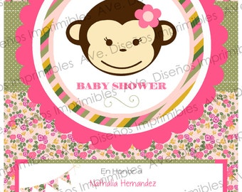 Monkey Baby Shower Invitation, Baby Girl monkey Invitations, Monkey Girl Birthday Invitations