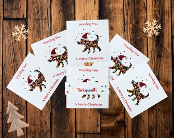 Woofing You A Merry Christmas Card, Five Pack Dog Christmas Cards, Dog Lovers Card, Christmas Card for Dog,  Christmas card from dog