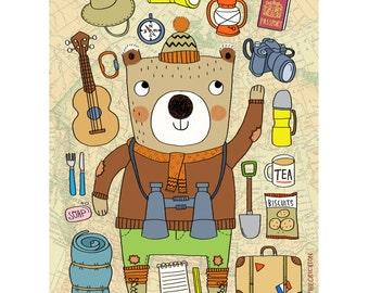 Jasper Bear-Animal Illustration-Bear Print-Nursery Print-Kids Room Decor-Camping Print-Explorer-Cute Print-Colourful Print (8 X 10 in)